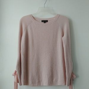 Ann Taylor Blush Pink tie sleeve sweater